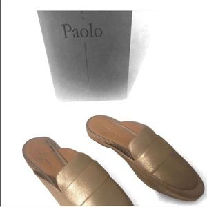 LINEA PAOLO ANNIE GOLD  LOAFER MULE SZ 6.5 NWT